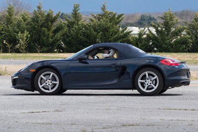 photo at Beverly McNeill in her Boxster