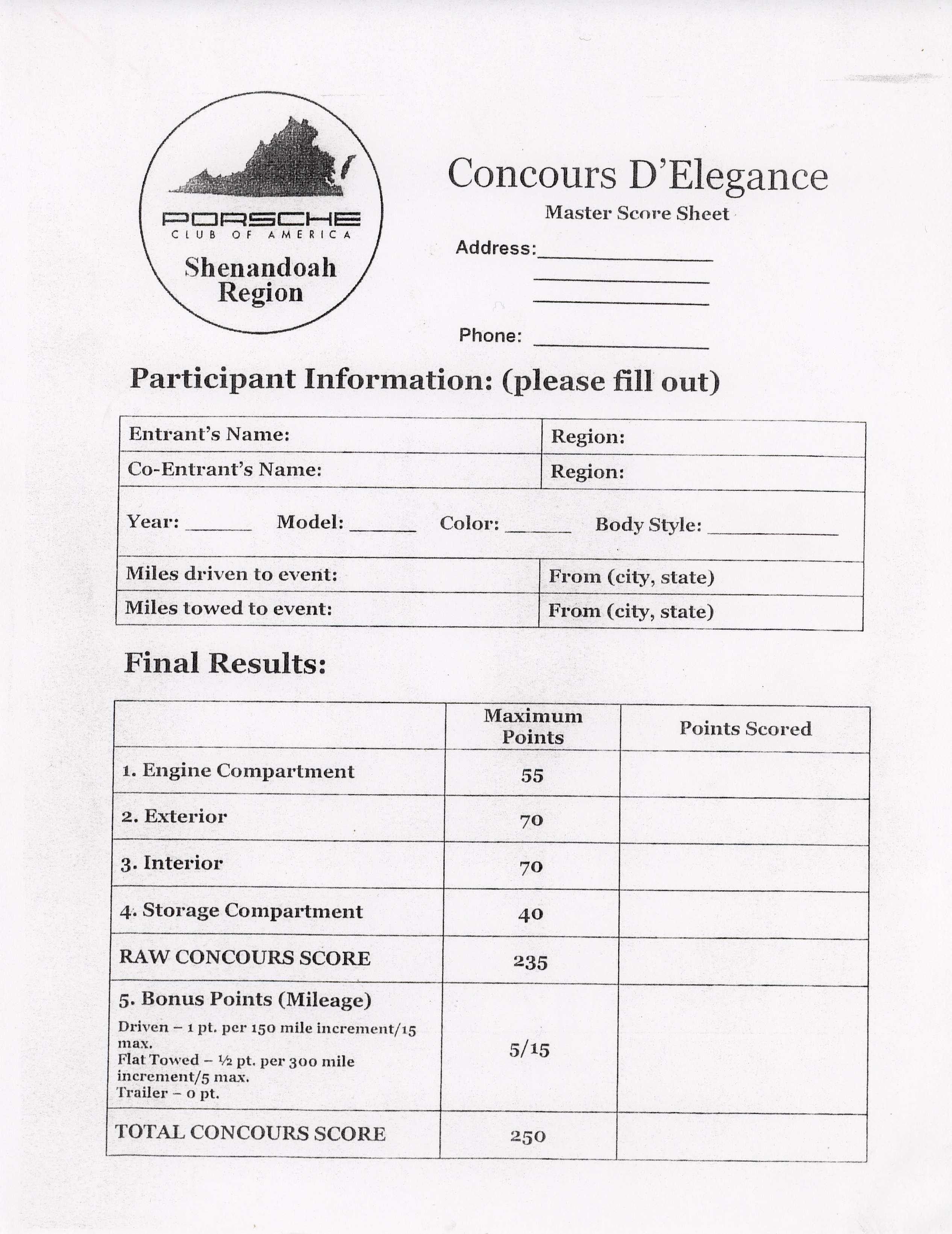 Concours - Car show judging sheet