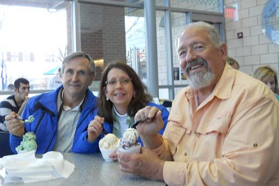 Jim Condon, Sherry Westfall, and Greg Glassner at Penn State Creamery
