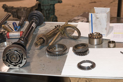Photo showing parts from a Porsche G15 transaxle