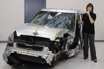 A crunched Kia at the IIHS