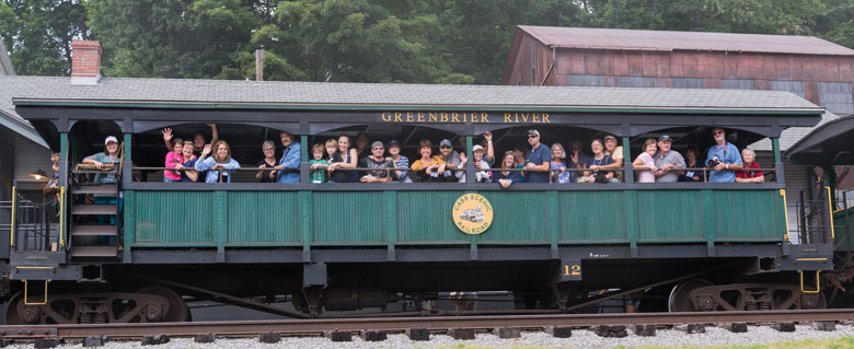 photo of the Porsche private car on the Cass Scenic Railroad